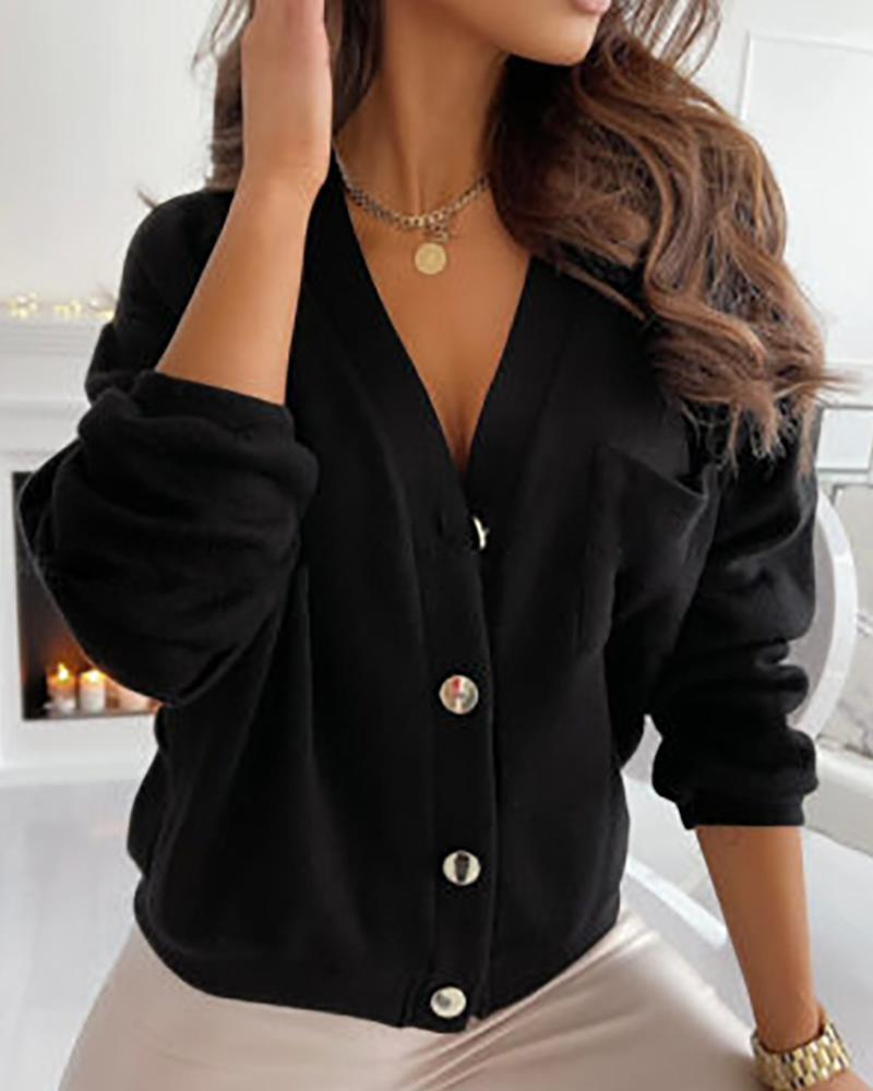 Plain Button Design Long Sleeve Cardigan