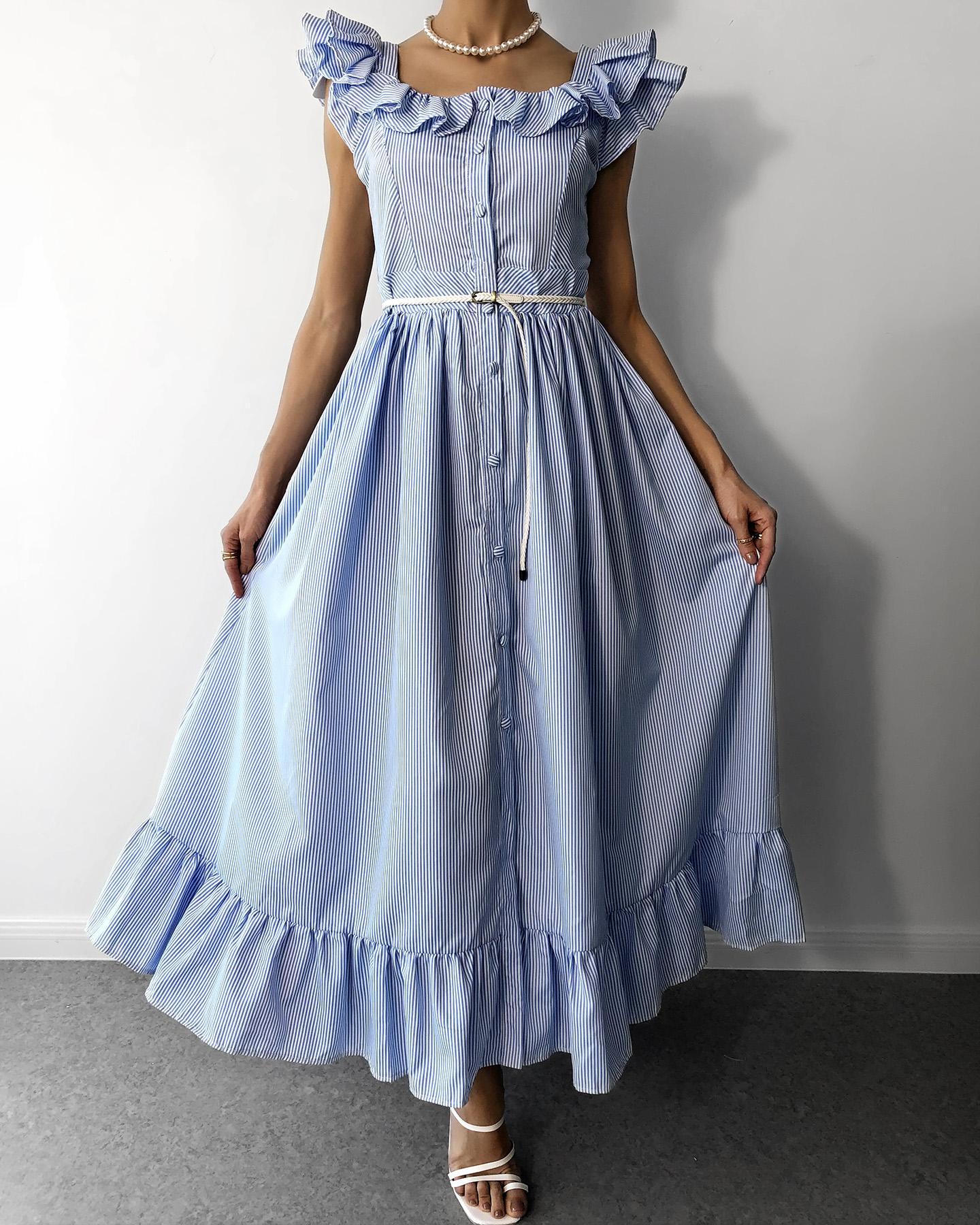 Striped Colorblock Flutter Sleeve Ruffles Maxi Dress