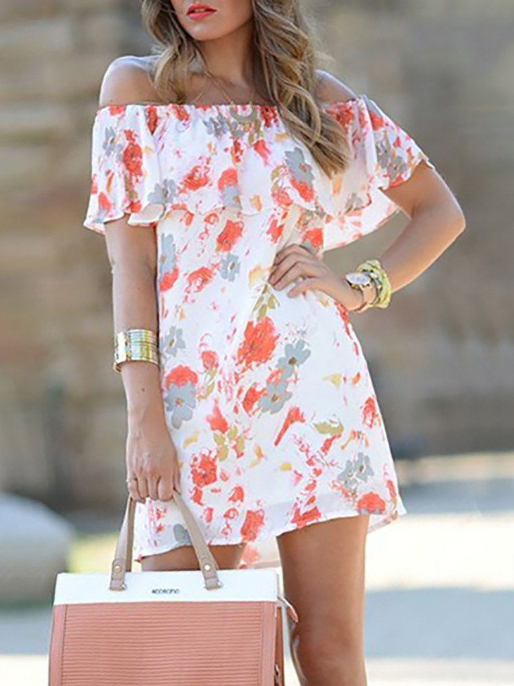 Fashion Floral Ruffled Off Shoulder Tunic Dress