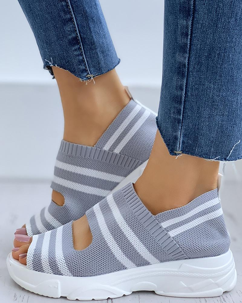 Striped Colorblock Peep Toe Wedge Heeled Sandals thumbnail