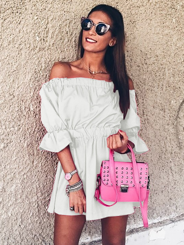 Stylish Pleated Off Shoulder Bubble Sleeve Mini Dress