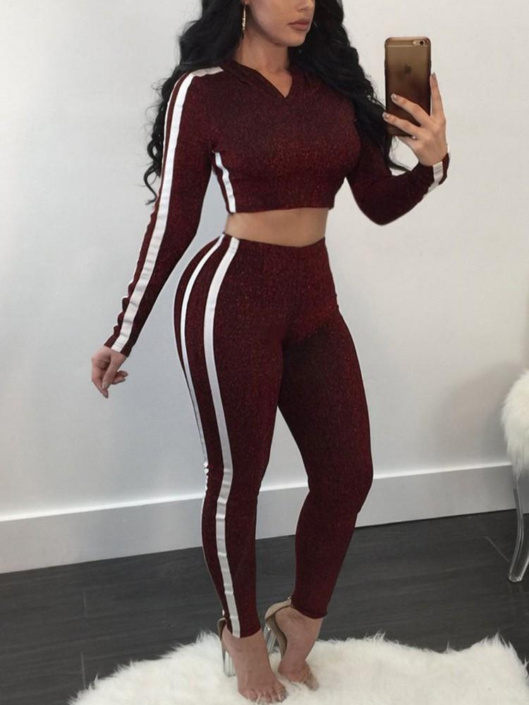 boutiquefeel / White Binding Cropped Hoodies Pantsuit
