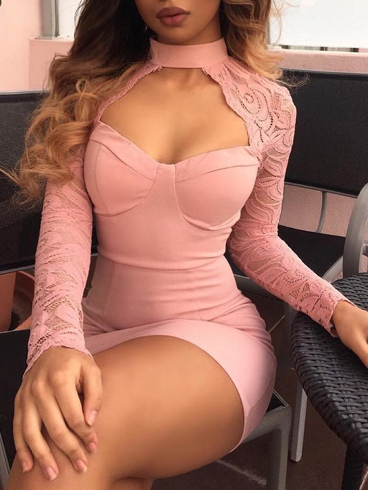 Sexy Lace Crochet Cut Out Mini Dress