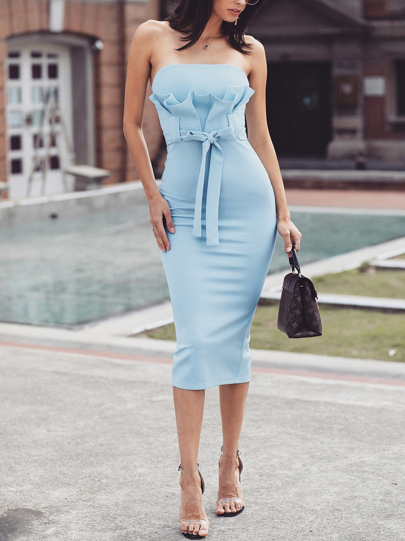 boutiquefeel / Strapless Fold Pleat Front Belted Bodycon Dress