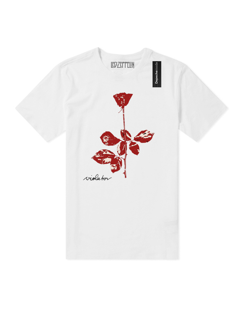 Punk Style Rose Print Short Sleeve T-shirt