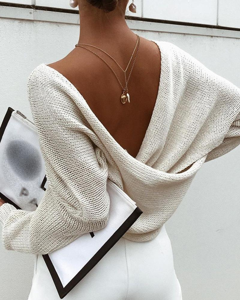 Batwing Sleeve Solid Casual Knit Top thumbnail