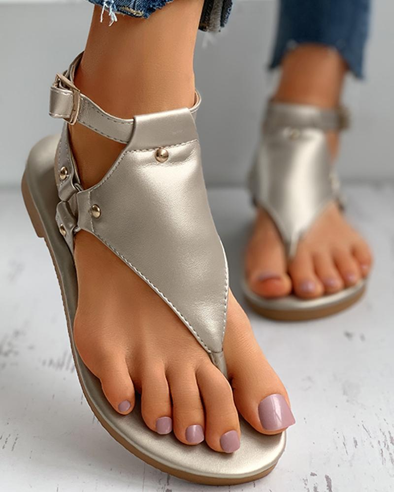 Toe Post Rivet Buttoned Slingback Sandals thumbnail