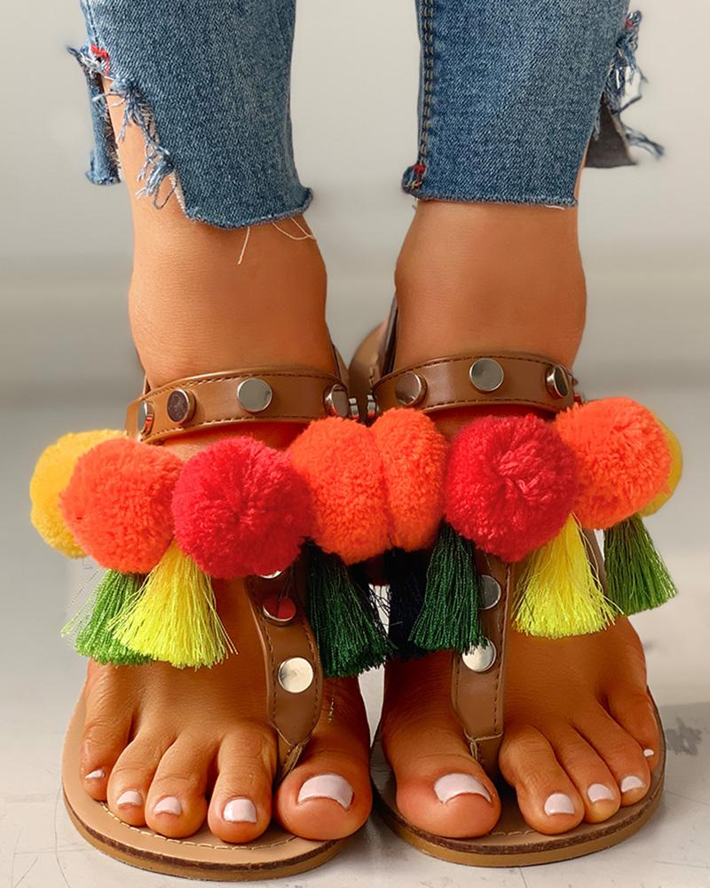 Colorful Fluffy Buckled Flat Sandals