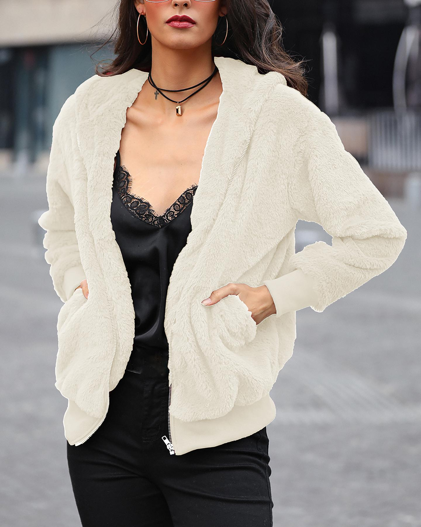 Plush Rabbit Fur Faux Fur Coat, White