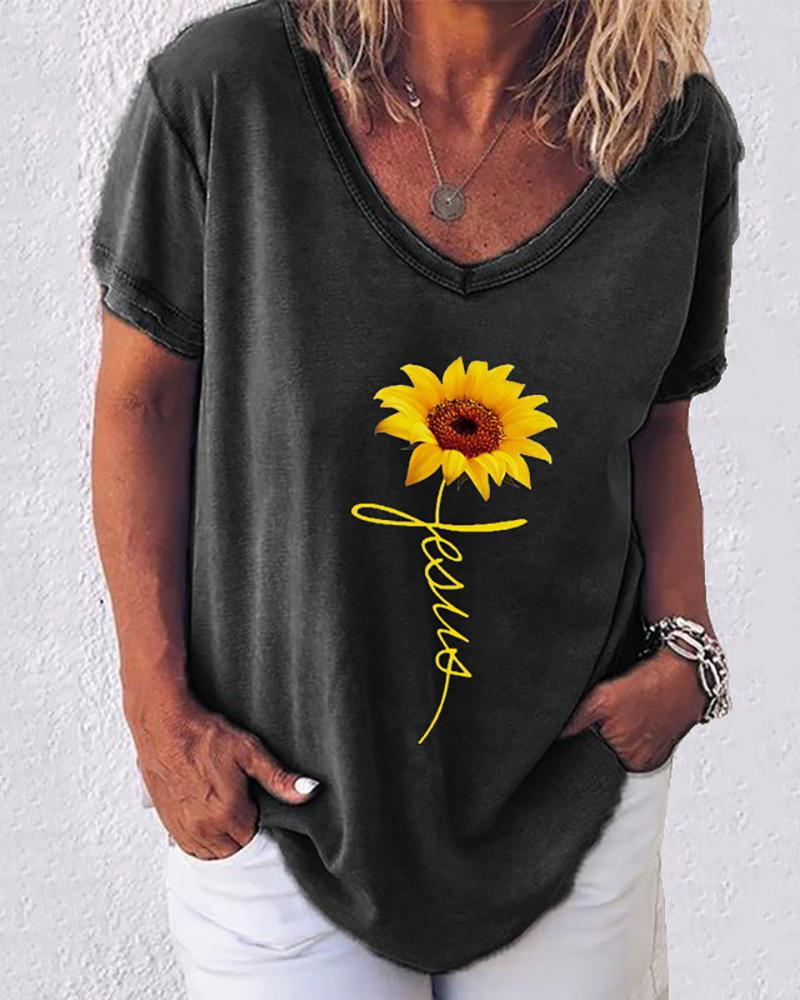 Sunflower Print Letter Pattern Casual T-shirt thumbnail