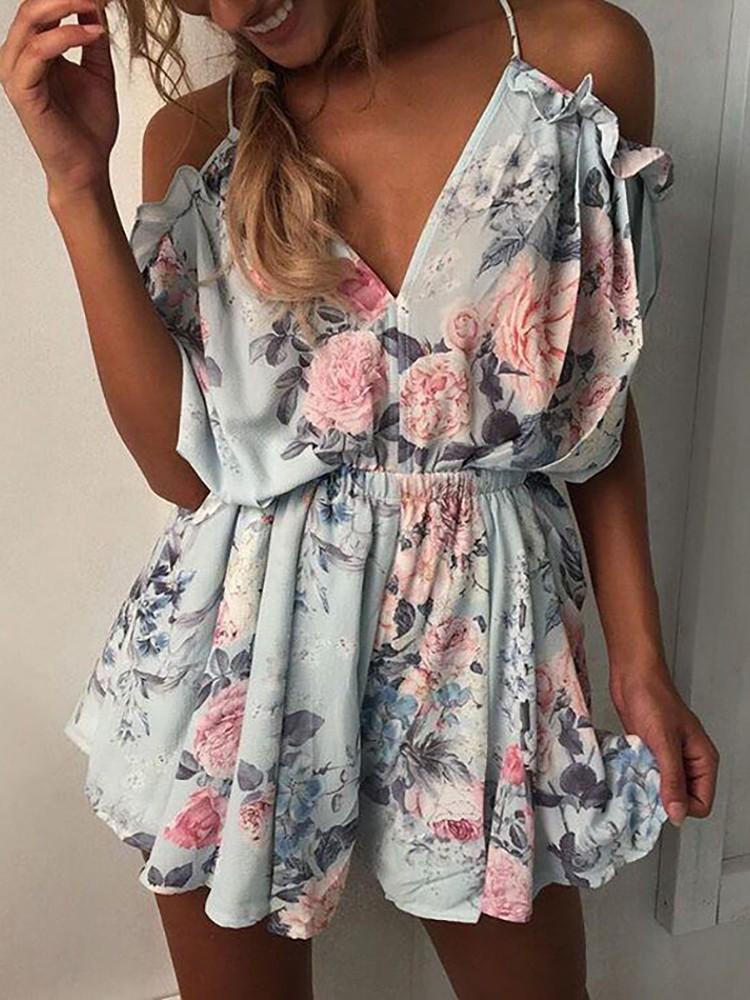 boutiquefeel / Floral Printed Cold Shoulder Slip Romper