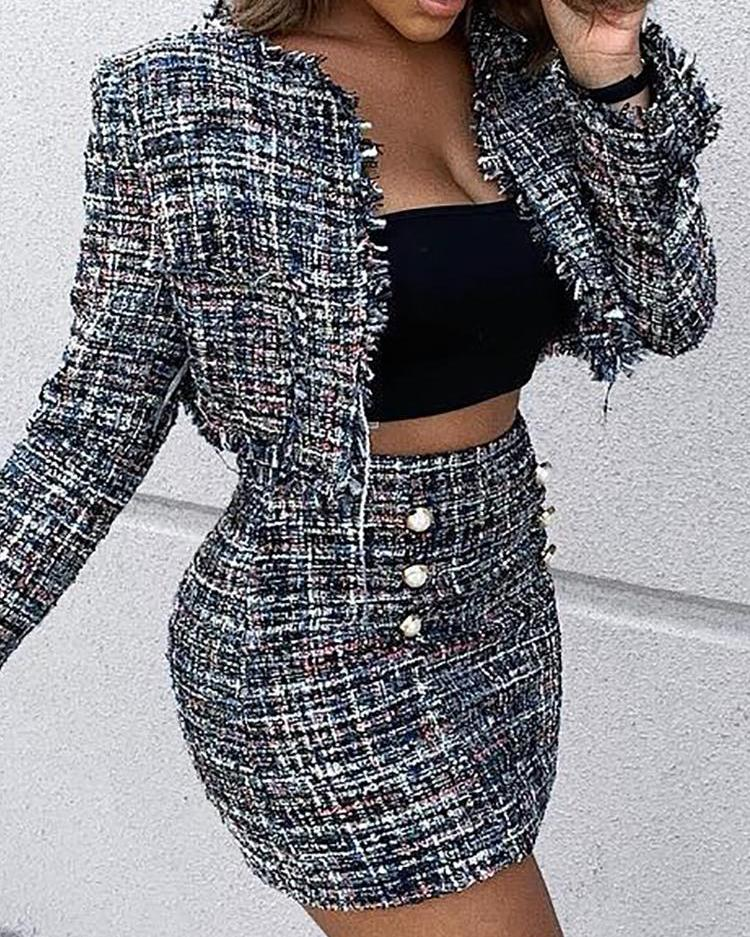 e743fe1e02d Tweed Button Mini Skirt   Jacket Sets Online. Discover hottest trend  fashion at chicme.com