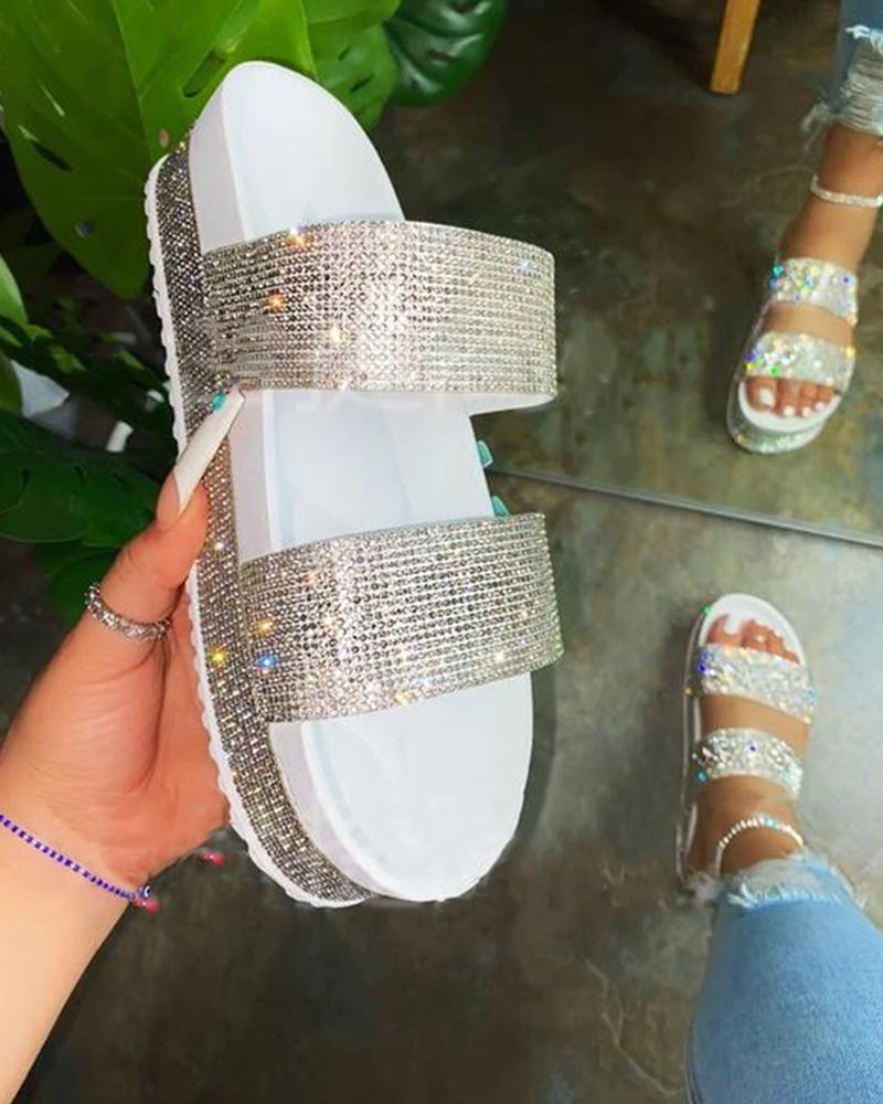 Rainbow Peep Toe Sequins Flat Sandals thumbnail