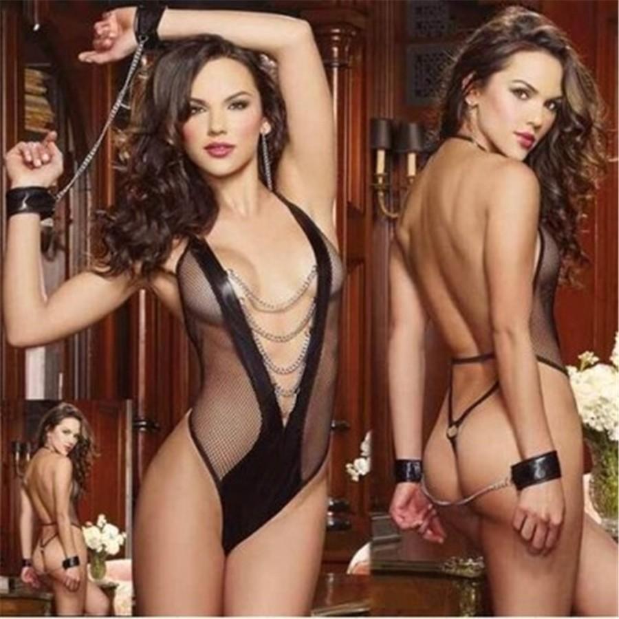 9339a37ec Sexy Open Bra Lingerie Set Women s Underwear Handcuff Metal Chian Bow Neck  Nightwear