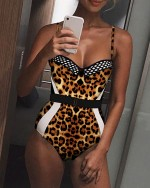 Contrast Color Fishnet Belted One piece Swimsuit